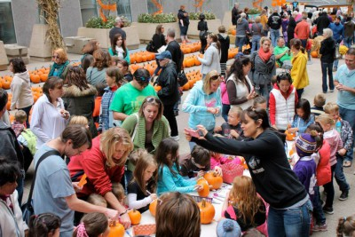 Families galore enjoyed pumpkin crafts.