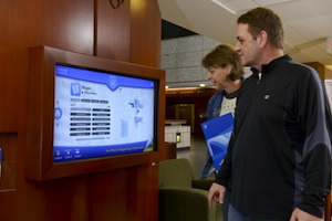 "Find new ""self-service"" information kiosks in lobbies of the Charlton and Gonda buildings."