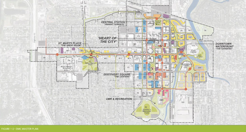 """A map of DMC and the five subdistricts, which constitute the areas of focus. A draft plan submitted this week calls for the first round of spending to take place in the """"Heart of the City"""" subdistrict, the area surrounding Mayo Clinic and Peace Plaza"""