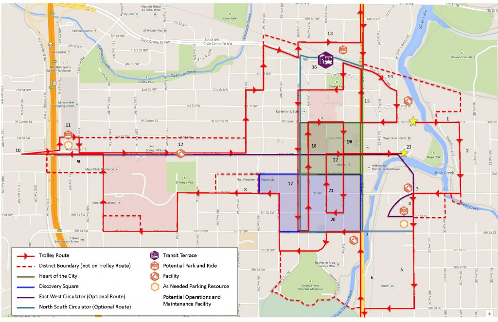 The route of today's trolley tour, in addition to DMC District and sub-district boundaries. All areas represent the latest iteration but remain subject to change.