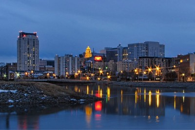 Rochester, MN Skyline at night from the view of the river