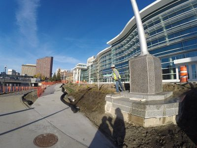 Landscaping continues alongside Riverfront Plaza, our new outdoor reception venue