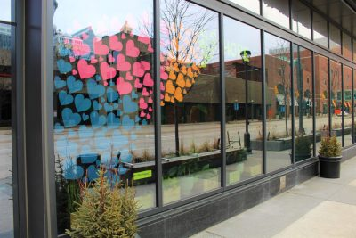 Paper Hearts in the window of the Rochester Mayo Clinic Area Hilton Hotel